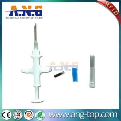 EM4305 LF RFID pasiva de cristal Animal etiqueta de seguimiento con la jeringuilla