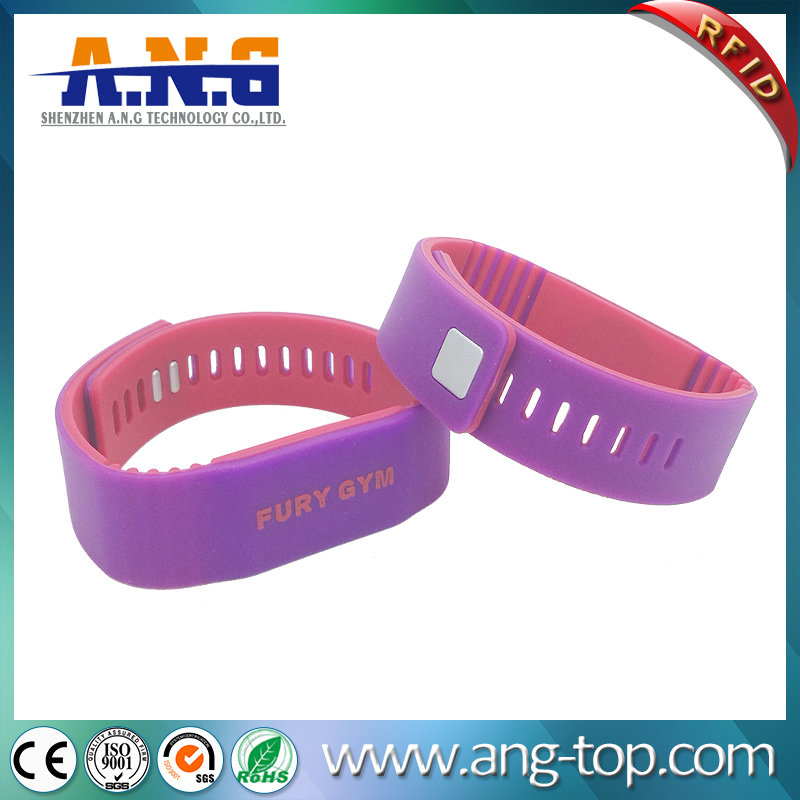Adjustable RFID NFC Silicone Wristband with double color