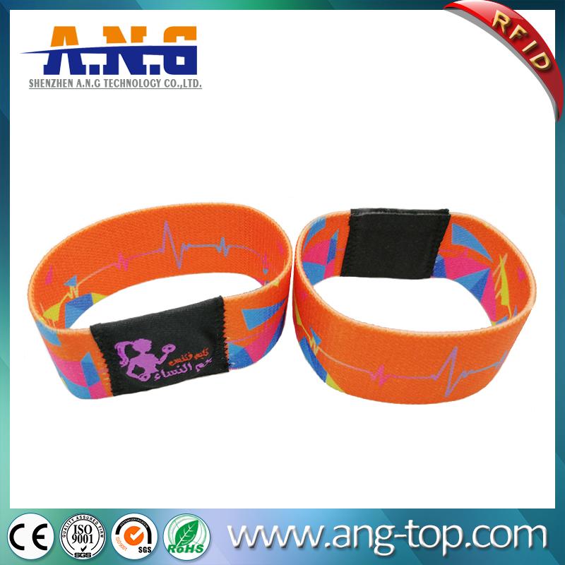 Printing elastic fabric rfid wristband mifare 1k bracelet for waterpark