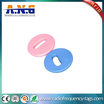 PPS Material HF RFID Laundry Round Tag For Clothing Management