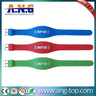 Dual Frequency Double Chip Rfid Silicone Wristband LF And HF UHF