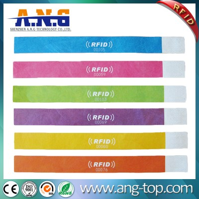 Tyvek Paper Nfc Rfid Wristbands Custom Waterproof One Time Rfid Event Wristbands