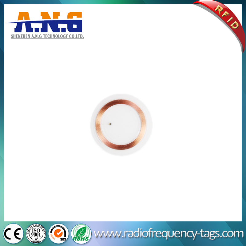 13.56MHz PVC Round Transparent MIFARE 1k RFID Coin Tag