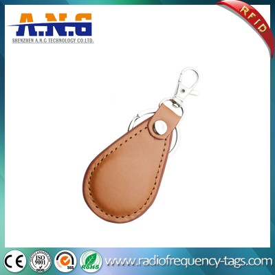 125 Khz And 13.56 Mhz Light Brown Exquisite Leather Rfid Key Fob