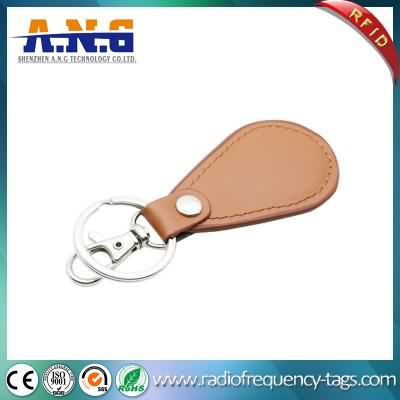 125kHz and 13.56MHz Light Brown Exquisite Leather RFID Key Fob