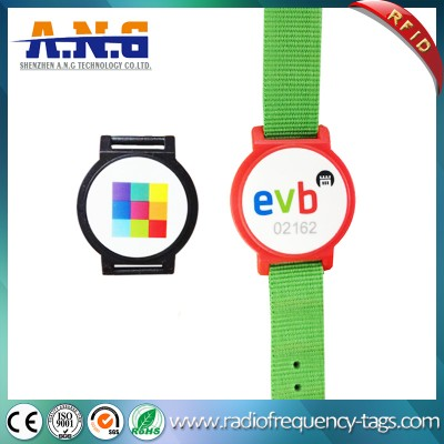 Adjustable Nylon RFID Bracelet Assista bracelete Pulseira para Eventos